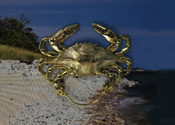 Gold Or Silver Crab Magnetic Eyeglass Holder or Brooch - Laura Wilson Gallery