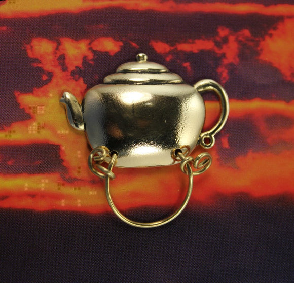14 Karat Gold Plated Brass Teapot Magnetic Eyeglass Holder or Brooch - Laura Wilson Gallery