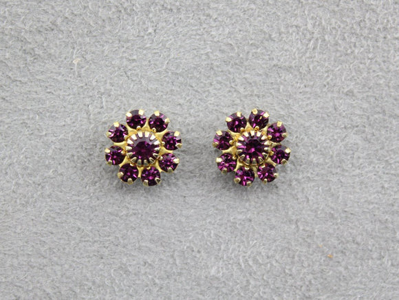 10 mm Round 9 Stone Cluster Swarovski Amethyst Crystal Magnetic Earrings