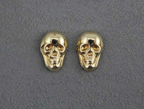 Polished Brass Skull Magnetic Non Pierced Earrings