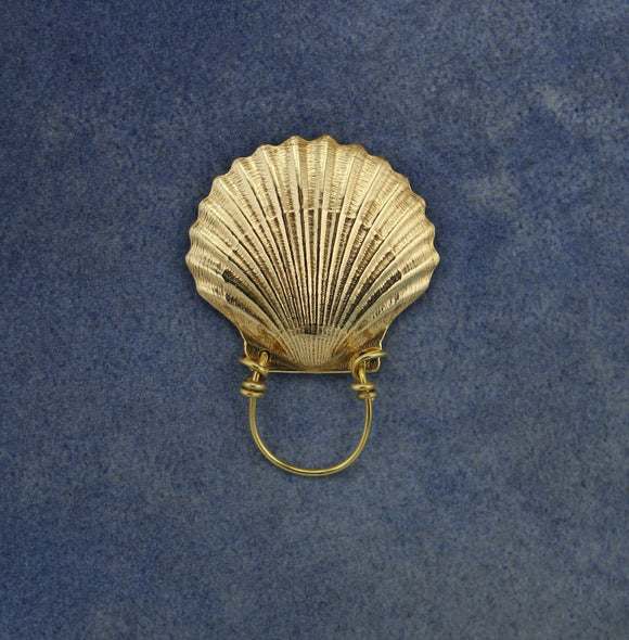 Large Solid Brass Magnetic Scallop Shell Eyeglass Holder or Brooch - Laura Wilson Gallery