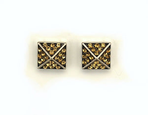 Chocolate Diamond Square Pyramid Crystal Magnetic Clip Earrings - Laura Wilson Gallery