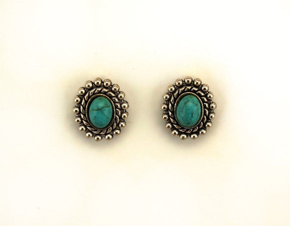 Turquoise and Silver Oval Magnetic Clip Earrings