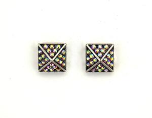 Rainbow Aurora Borealis Square Pyramid Crystal Magnetic Clip Earrings - Laura Wilson Gallery