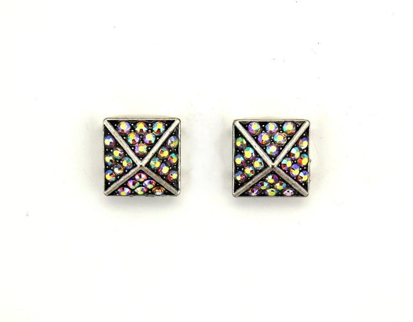 Rainbow Aurora Borealis Square Pyramid Crystal Magnetic Clip Earrings