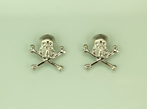 Silver Skull and Crossbone Magnetic Non Pierced Earrings