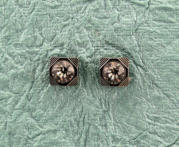 10 mm Square Magnetic Earrings With Faceted Crystal Set in A Wide Silver Bezel Setting - Laura Wilson Gallery