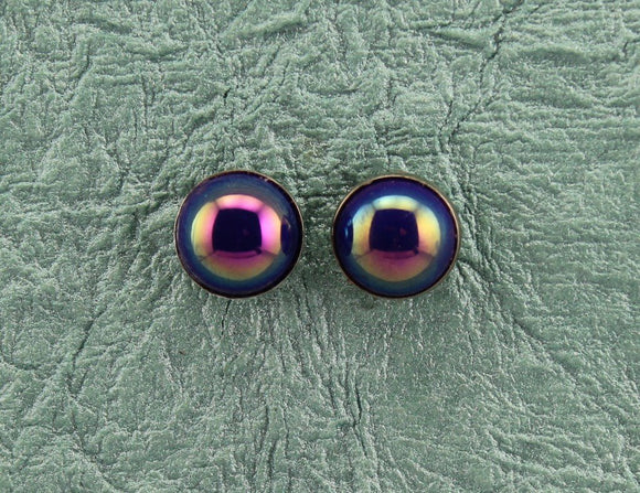 12 mm Aurora Borealis Blue and Silver Round Button Magnetic Clip Earrings - Laura Wilson Gallery