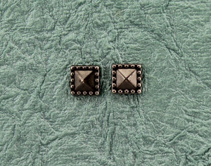 8 mm Square Gunmetal Grey Magnetic Non Pierced Earrings - Laura Wilson Gallery