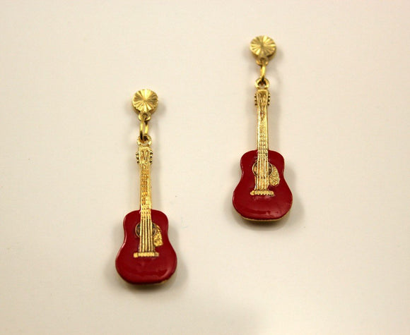 Hand Painted Red Guitar Magnetic Non Pierced Clip Earrings - Laura Wilson Gallery
