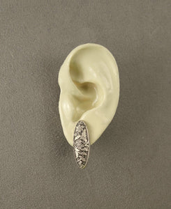 Antique Silver 10 x 28 mm Brass Oval Floral Magnetic Clip Earrings - Laura Wilson Gallery