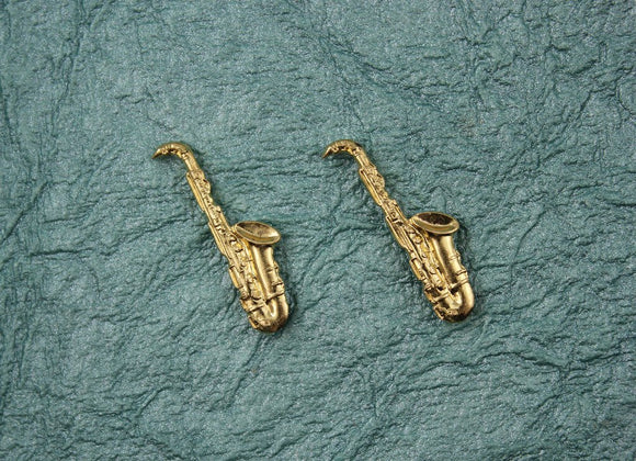 Gold Plated Saxophone Magnetic Non Pierced Clip Earrings