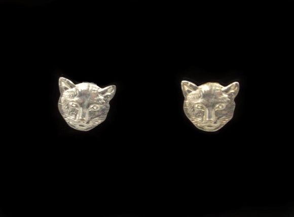 Tiny Cat Face Nickel Plated  Magnetic Earrings - Laura Wilson Gallery