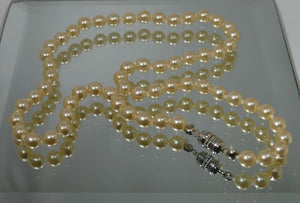 Faux Cream 6mm Pearl 16 Inch Necklace With Silver Magnetic Clasp - Laura Wilson Gallery