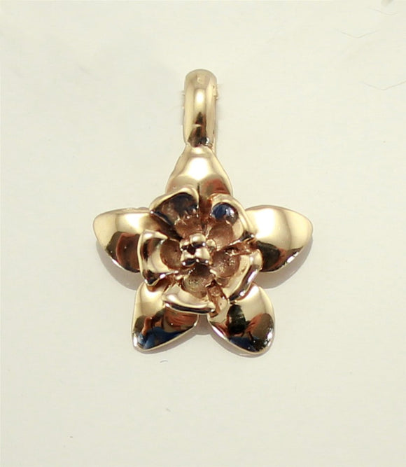 Columbine Flower Pendant or Charm in 14, 18 K Gold, and Sterling