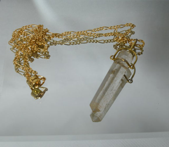 Rutilated Quartz Crystal Pendant In Gold Plated Setting - Laura Wilson Gallery