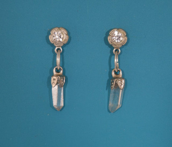 Quartz Crystal Magnetic Non Pierced Clip Dangle Silver Earrings - Laura Wilson Gallery