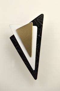 Handmade Original Design Black, Gold and White Aluminum Triangle Magnetic Brooch - Laura Wilson Gallery