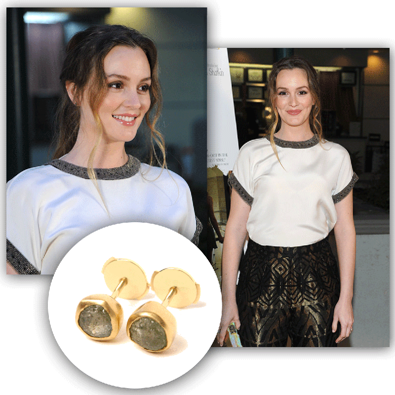 Leighton Meester wears Rough Sapphire Stud Earrings