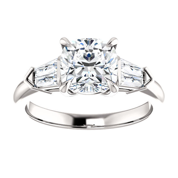 Cushion Cut Diamond Engagement Ring with Tapered Baguettes