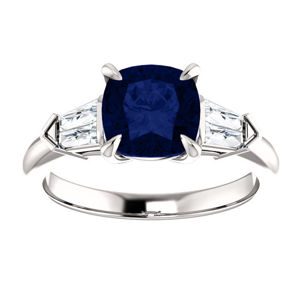 Cushion Cut Sapphire Engagement Ring with Tapered Baguettes
