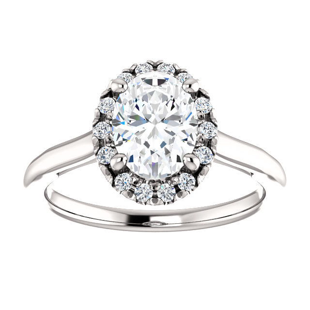 Oval Halo French Set Engagement Ring