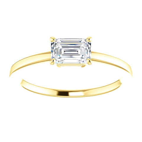 Emerald Cut Diamond Solitaire Engagement Ring | East West