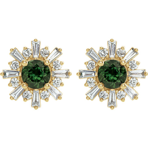 Green Tourmaline and Diamond Starburst Stud Earrings