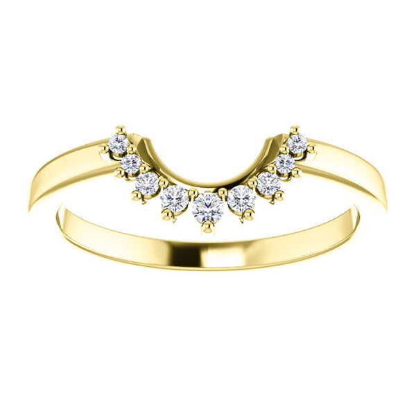 NEW! Matching Wedding Band for Vintage Round Diamond with Baguette Halo Engagement Ring