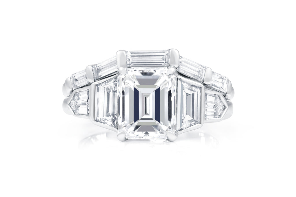 5 Stone Emerald Cut Engagement Ring And Baguette Diamond Band