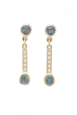 River Rock Rough Sapphire Bar Drop Earrings with Diamonds