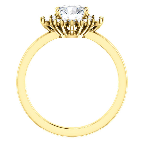 Vintage Round Diamond with Baguette Halo Engagement Ring