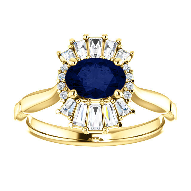 Vintage Style Blue Sapphire and Diamond Baguette Engagement Ring