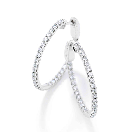 Diamond Inside Outside Hoop Earrings