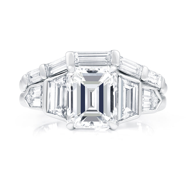 5 Stone Emerald Cut Engagement Ring And Baguette Diamond Band Allison Neumann Fine Jewelers