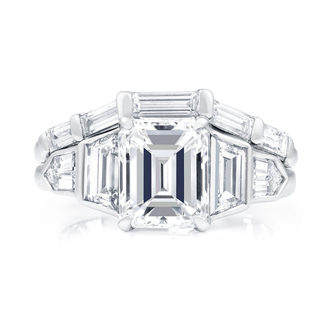 5 CTW Emerald Cut 5 Stone Diamond Engagement Ring and Baguette Diamond Wedding Band