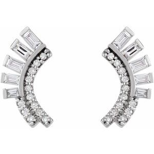 Curved Fan Diamond Ear Climber Earrings