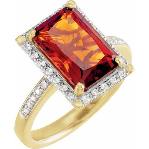 Madeira Citrine Ring with Diamonds