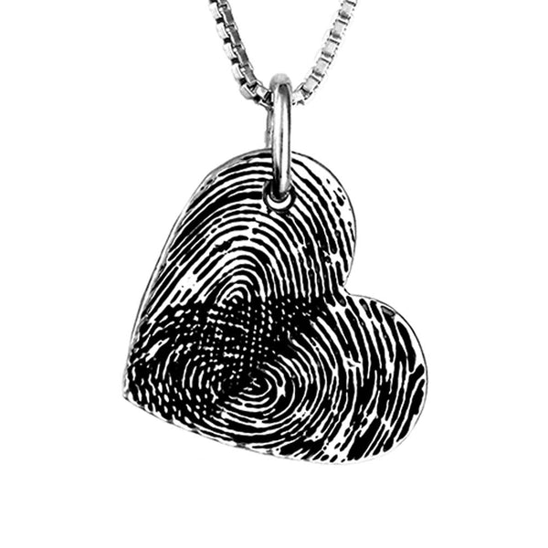 Double Fingerprint Heart Necklace