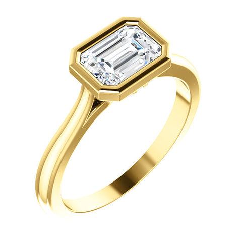 Emerald Cut Diamond Engagement Ring with Diamond Accents | East West