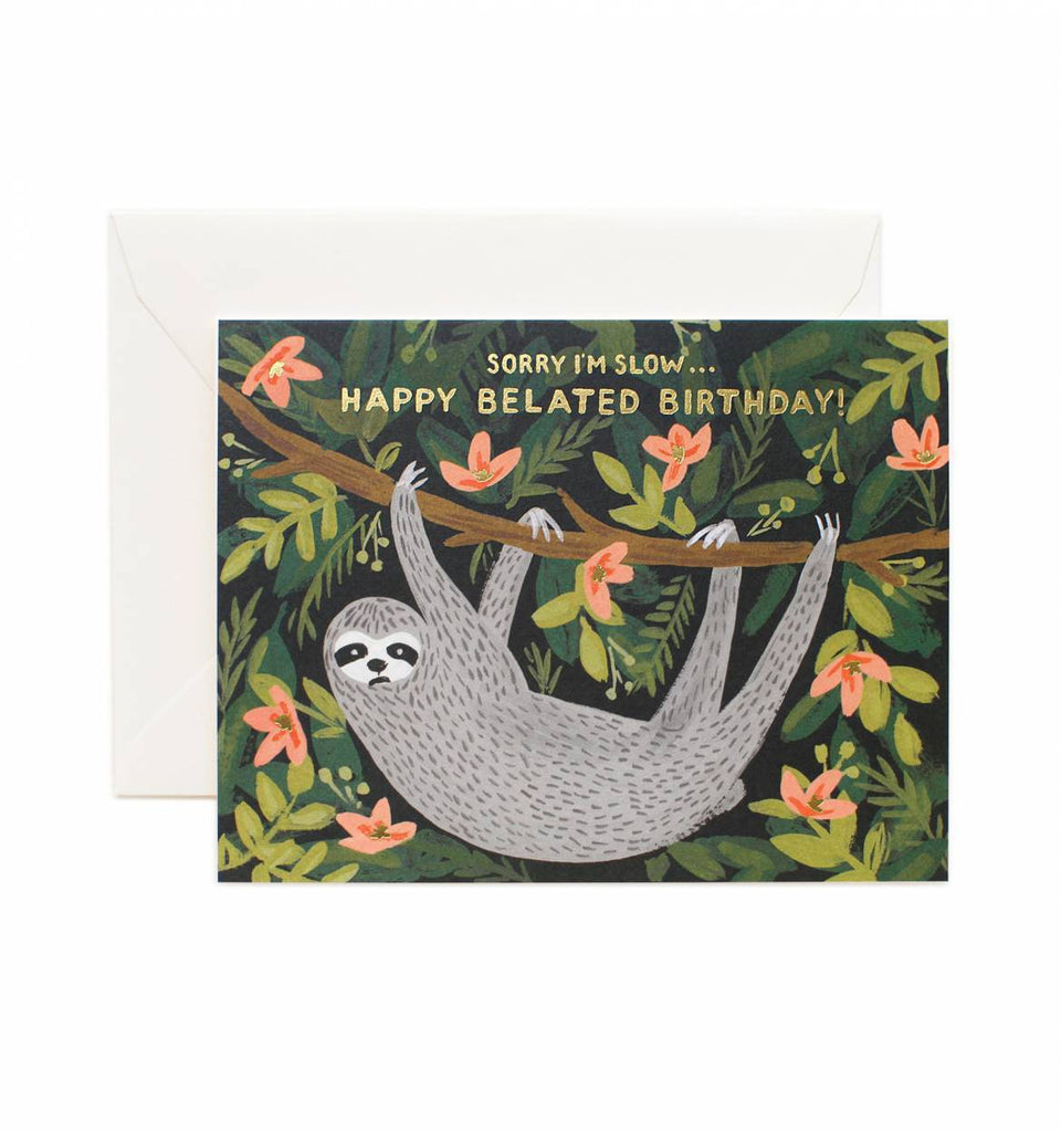 Rifle Paper Sloth Belated Birthday Card