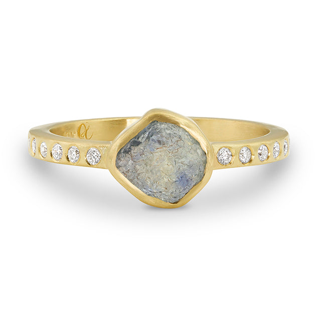 Rough Montana Sapphire Ring | Signature with Diamonds
