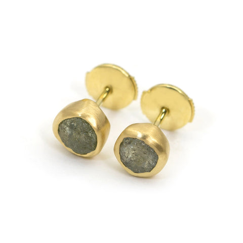 rough sapphire earrings 18K yellow gold