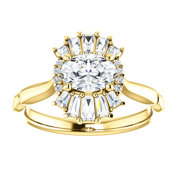 Vintage Oval Diamond and Baguette Engagement Ring