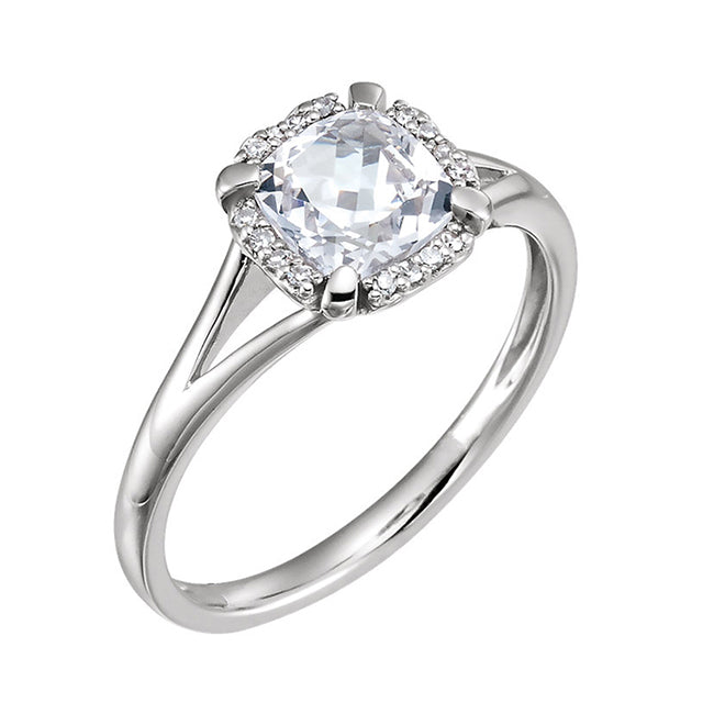 White Sapphire and Diamond Engagement Ring