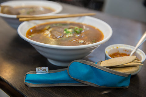 To-Go Ware Utensil Set Being Used along side homemade Pho