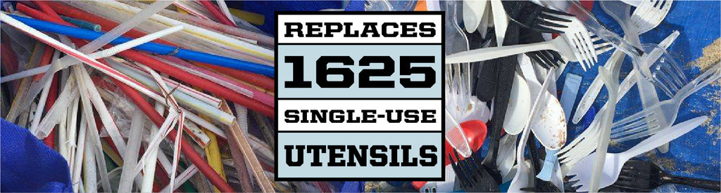 Each utensil set replaces up to 1625 single use utensils