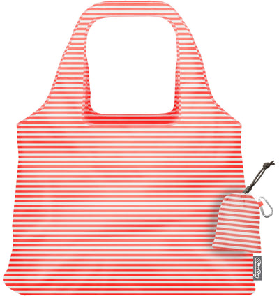 ChicoBag Vita Coral Stripe Print Polyester Reusable Shoulder Tote That Stuffs Into its built-in pouch On a White Background