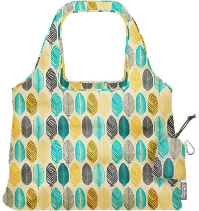 ChicoBag Vita Feather Pattern Print Polyester Reusable Shoulder Tote That Stuffs Into its built-in pouch On a White Background
