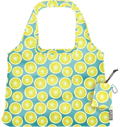 ChicoBag Vita Lemon Print Polyester Reusable Shoulder Tote That Stuffs Into its built-in pouch On a White Background